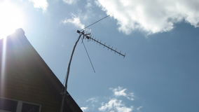 Television antenna on the roof of the background