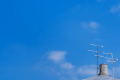 Television antenna on the roof Stock Images