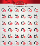 Television,Applicat ion icons. Red version Royalty Free Stock Images