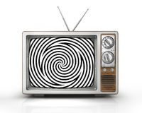 Television as influential mass media. Hypnotic spiral on the screen. Metaphor of mind control, propaganda, brainwashing and manipulation caused by watching TV Royalty Free Stock Photo