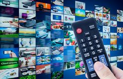 Television broadcast multimedia abstract composition Stock Images