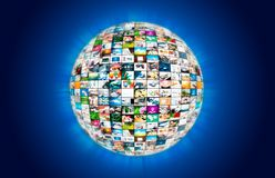 Television broadcast multimedia sphere globe abstract composition Royalty Free Stock Photo