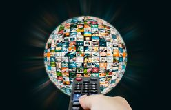 Television broadcast multimedia sphere globe abstract composition Stock Photos
