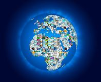 Television broadcast multimedia world map. Abstract composition Royalty Free Stock Photos