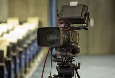 Television broadcast from the theater. Professional digital video camera. TV broadcast of the event from the theater Stock Images