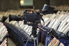 Television broadcast from the theater. Professional digital video camera. Royalty Free Stock Photos