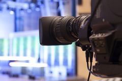 Television broadcast from the theater. Professional digital video camera. Royalty Free Stock Images