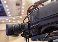 Television broadcast from the theater. Professional digital video camera. Royalty Free Stock Photography