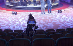 Television broadcast from the theater. Professional digital video camera. Stock Images