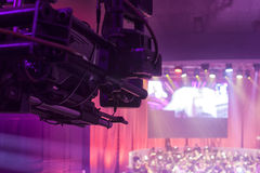 Television broadcast from the theater. Professional digital video camera. Royalty Free Stock Photo