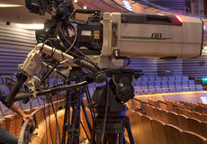 Television broadcast from the theater. Professional digital video camera. Royalty Free Stock Image