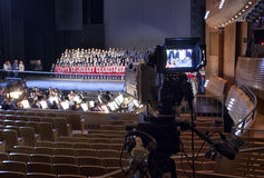 Television broadcast from the theater. Professional digital video camera. Stock Photography