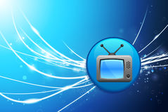 Television Button on Blue Abstract Light Background. 