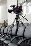 Television camcorder. In an empty conference room during the break stock photography