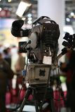 Television camera. Broadcast television camera on stage stock image