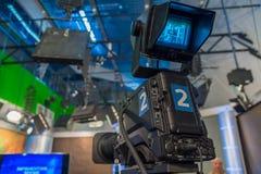 Television camera close-up. The television camera close-up in news studio Royalty Free Stock Photo
