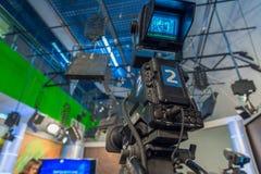 Television camera close-up. The television camera close-up in news studio Stock Photo