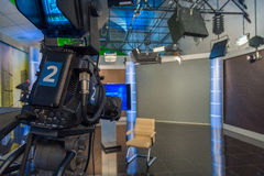 Television camera close-up. The television camera close-up in news studio Stock Images