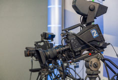 Television camera close-up. The television camera close-up in news studio Royalty Free Stock Images