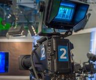 Television camera close-up. The television camera close-up in news studio Stock Image