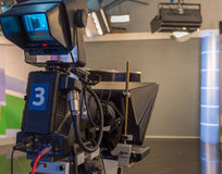 Television camera close-up. The television camera close-up in news studio Stock Photography