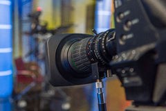 Television camera close-up. The television camera close-up in news studio Royalty Free Stock Photography
