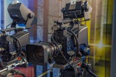 Television camera close-up. The television camera close-up in news studio Royalty Free Stock Image