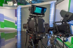 Television camera close-up. The television camera close-up in news studio Royalty Free Stock Photos