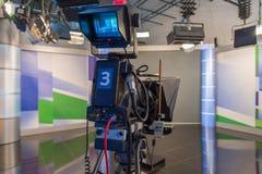 Television camera close-up. The television camera close-up in news studio Stock Photos