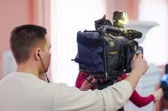 Television camera crew Royalty Free Stock Photo