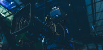 Television camera ready to work in the studio closeup. Television camera ready to work in the studio Royalty Free Stock Photography