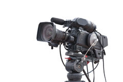 Television camera recording publicity event isolated Stock Photos