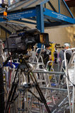 Television Camera at St Mary's Hospital. LONDON, ENGLAND - JULY 10: A television camera and photographers' ladders outside St Mary's Hospital, Paddington in Stock Images
