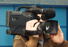 Television cameraman Stock Photo