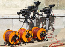 Television cameras and cable reels Stock Image