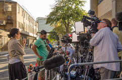 Television Cameras at St Mary's Hospital. LONDON, ENGLAND - JULY 19: Television journalists wait outside St Mary's Hospital, Paddington for the Duchess of Stock Photo