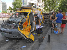 Television channel broadcast vehicle damaged in Taksim Square. Royalty Free Stock Image