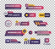 News bar logos, icons of news feeds, television, radio channels. Television channel broadcasting service set of tv news bar logos, icons of television, radio vector illustration