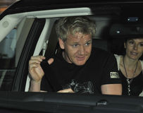 Television Chef Gordon Ramsey is seen at LAX Stock Images