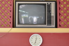 Television with clock Stock Photo