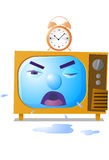 Television and clock. Vector illustration of a television set with an alarm clock on top vector illustration