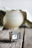 Television clock waiting for dough rising in the bowl, baking kitchen Royalty Free Stock Photography