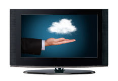 Television cloud computing Stock Photo