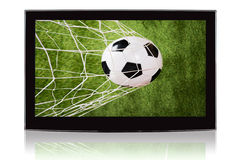 Television Displaying Soccer Ball And Net Royalty Free Stock Images