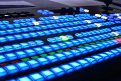 Television equipment video mixer. Buttons on television video mixer television equipment Royalty Free Stock Image