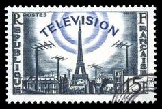 television för stämpel för utvecklingsfrance porto arkivbild