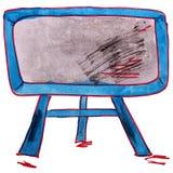 Television för teckningsbarnvattenfärg, tecknad film Royaltyfria Foton