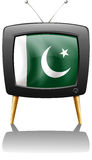 A television with the flag of Pakistan Royalty Free Stock Photos