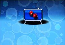 Television Gamble. Gambling Ad - Future of gambling - Dice in TV stock illustration