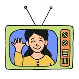Television girl Stock Photo